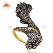 1.24ct Pave Diamond Angel Wing Ring .925 Sterling Silver Designer Jewelry