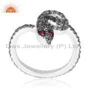 Ruby Diamond Pave SNAKE Ring 925 Sterling Silver Vintage Style HALLOWEEN Jewelry