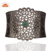 Pave Diamond Emerald Sterling Silver With Black Rhodium Plated Cuff Bracelet