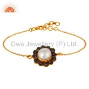 Pearl and Diamond 18K Gold Plated 925 Silver Bracelet with Adjustable Chain Link