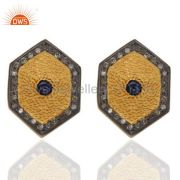 Pave Diamond Blue Sapphire Gemstone Stud Earring Made In 18K Gold Over Sterling