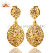 18K Yellow Gold Over Sterling Silver Pave Set Diamond Drop Earrings