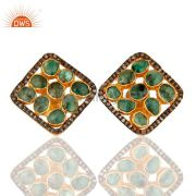 Natural Emerald And Pave Set Diamond 925 Sterling Silver Cushion Stud Earrings