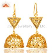 Diamond Cut Fancy Jhumka Earrings with 18k Gold Plated Sterling Silver