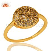 18K Yellow Gold Plated Sterling Silver Pave Set Diamond Statement Stack Ring
