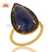 18K Gold Plated Sterling Silver Pave Diamond And Blue Sapphire Statement Ring
