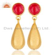 14K Yellow Gold Plated Handmade Natural Red Aventurine Drops Brass Earrings