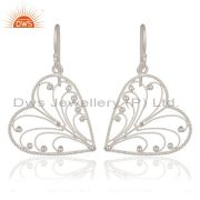 Indian Artisan Handcrafted 925 Sterling Silver Twisted Wire Heart Design Earring