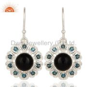 925 Sterling Silver Natural Black Onyx And Blue Topaz Gemstone Dangle Earrings