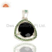 Tsavorite Studded Black Onyx Triangle Pendent Solid 92.5 Sterling Silver Pendent