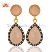Faceted Rose Chalcedony Drop Earrings In 18K Gold Over Sterling Silver