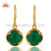 14K Yellow Gold Plated Sterling Silver Green Onyx Designer Dangle Earrings