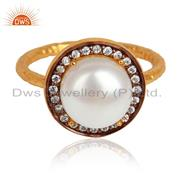 Natural Pearl Gemstone CZ Gold Plated Designer 925 Silver Rings