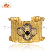 Handmade Design Gold Plated Silver CZ Black Onyx Cuff Bangle