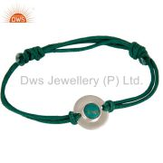 925 Sterling Silver Turquoise Gemstone Disc Cord Adjustable Macrame Bracelet