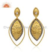 18k Yellow Gold Over 925 Sterling Silver Simulated Diamond Crystal Drop Earrings