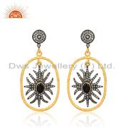 Black Onyx And CZ Gold On Silver Floral Oval Hoop Earrings