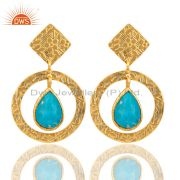 18K Gold Plated Sterling Silver Textured Natural Turquoise Bezel Set Earrings