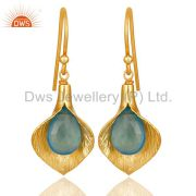 18k Yellow Gold Plated Sterling Silver Fashion Charming Gift Chalcedony Earrings