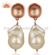 Baroque Fresh Water Pearl Long Dangle Rose Gold 92.5 Silver Earring