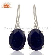 Lapis Flat Shape Pefect Oval Drop Wholesale 92.5 Sterling Silver Earring