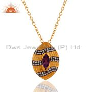 "18k Yellow Gold Plated Amethyst & Cubic Zirconia Designer Pendant With 16""Chain"