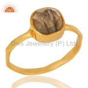 Natural Labradorite Sterling Silver 18K Yellow Gold Plated Stackable Ring