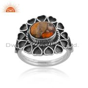 Mojave Copper Bumblebee Turquoise Oxidized Silver Heart Ring