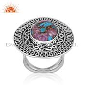 Mojave Copper Purple Oyster Turquoise 925 Silver Boho Ring
