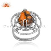 Sponge Coral Set Oxidized 925 Silver Handmade Abstract Ring