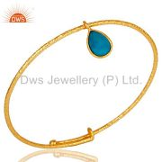 18k Yellow Gold Plated Sterling Silver Turquoise Openble Fashion Bangle
