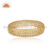 white Zircon Beaded Designer Gold Plated Silver Bangle Jewelry
