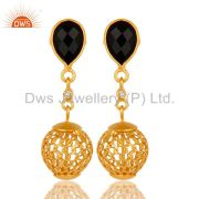 22K Yellow Gold Plated 925 Sterling Silver Black Onyx Dangle Earrings Jewelry