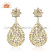 Traditional Gold Plated 925 Silver White Zircon Gemstone Earrings