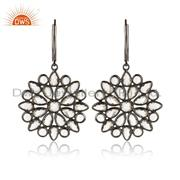 Cz Cluster Earring in Black Rhodium on Silver Lever Back Closure